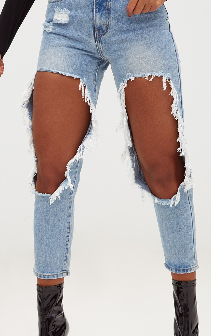 Light Wash Extreme Open Thigh Straight Leg Jean 5