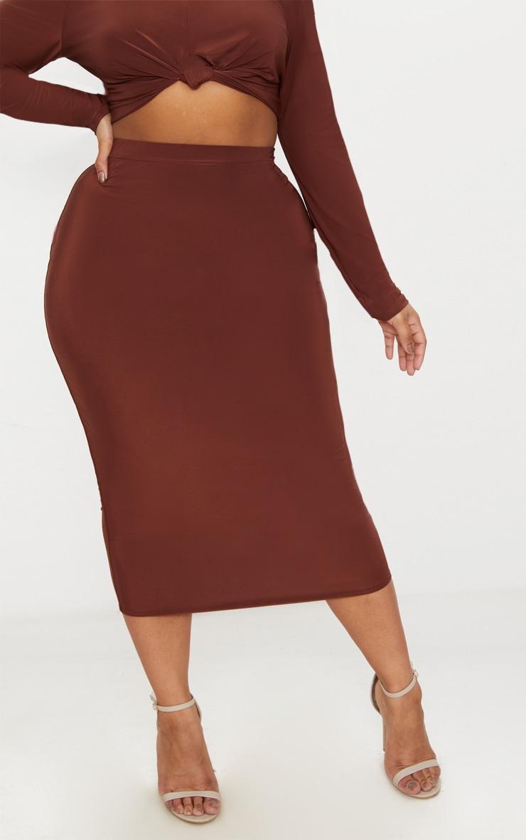 Plus Chocolate Slinky Midi Skirt 2