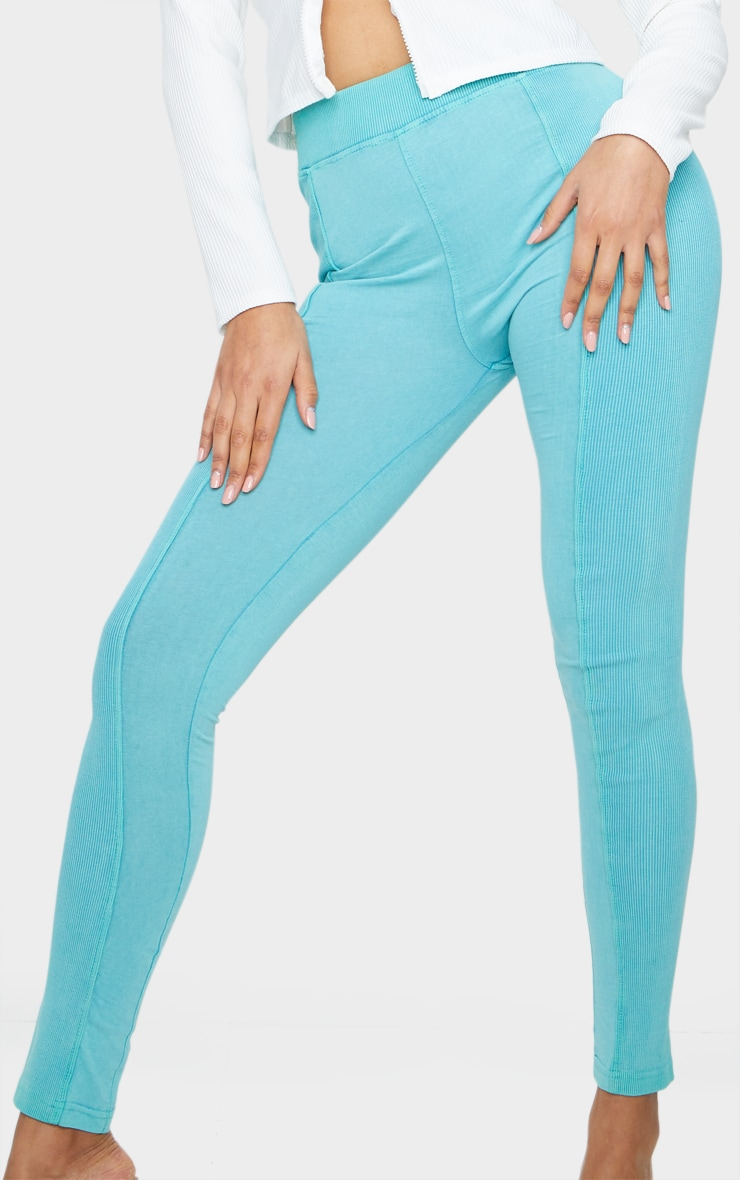 Teal Acid Wash Contrast Panel Rib Leggings 4