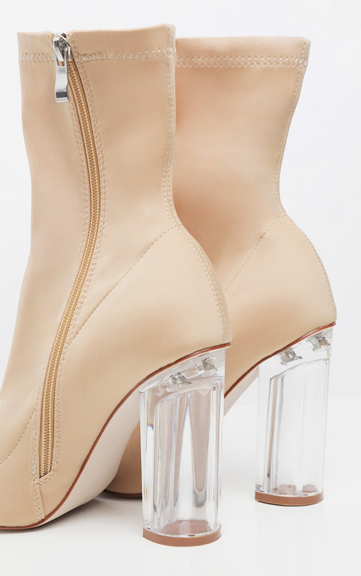 Nude Clear High Heel Sock Boot 4
