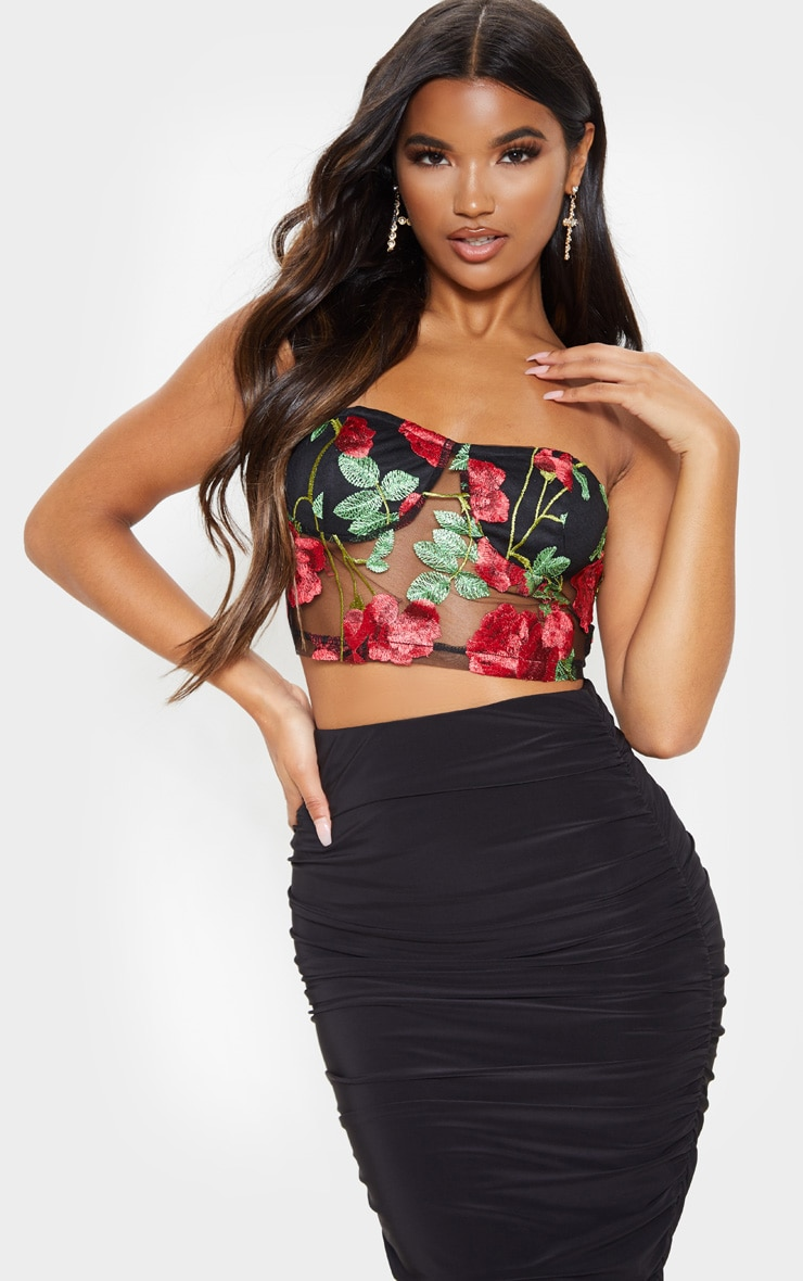 Red Floral Mesh Embroidered Bandeau 1