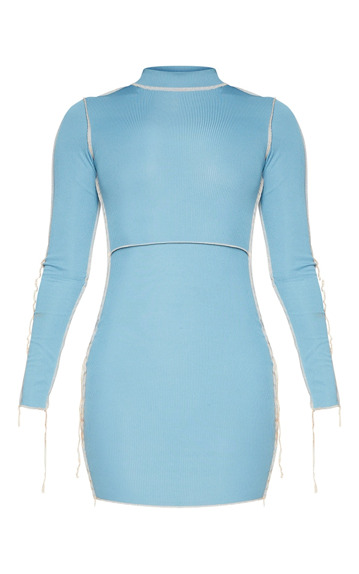 Mineral Blue Ribbed Overlock Stitch High Neck Long Sleeve Bodycon Dress 5