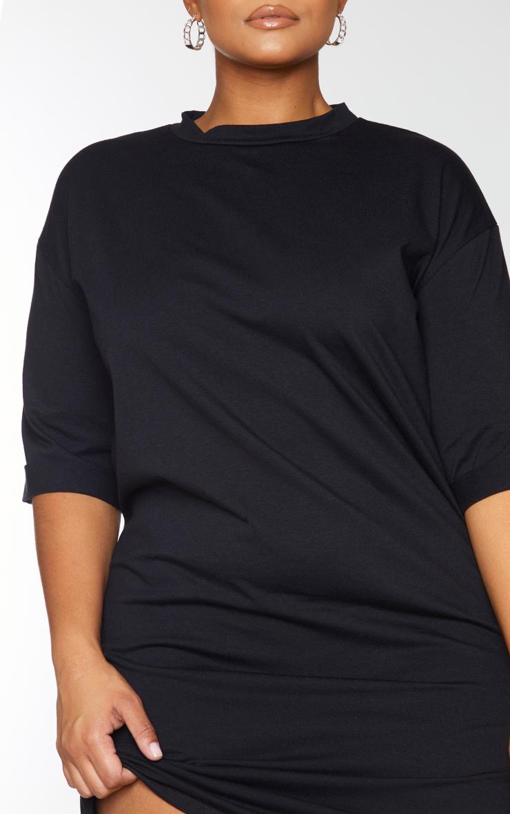 PLT Plus - Robe tee-shirt oversize style boyfriend noire à manches courtes 4