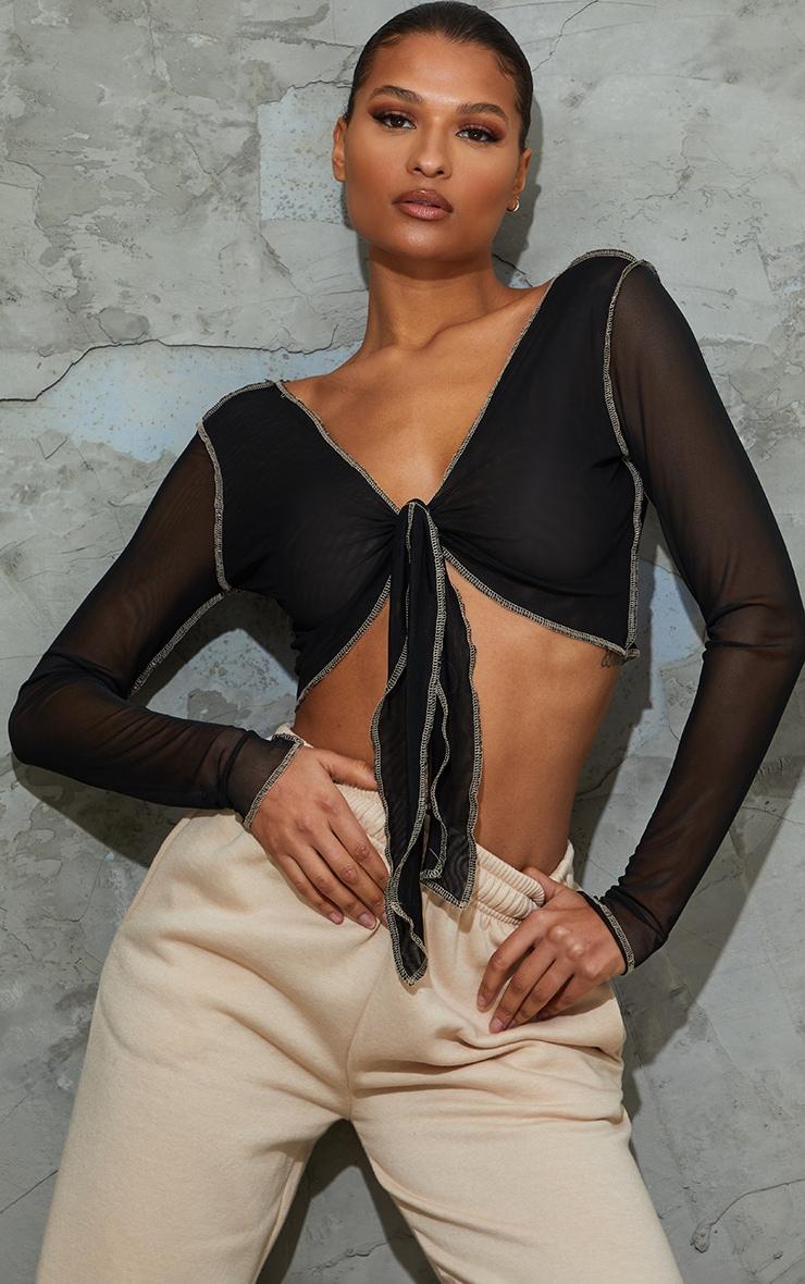 Black Mesh Contrast Stitch Tie Front Shirt 1