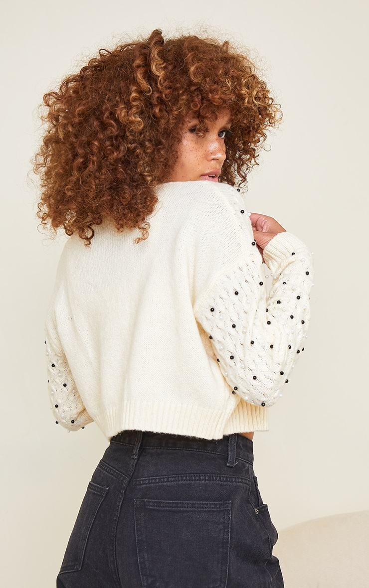 Cream Embellished Knitted Cardigan 2