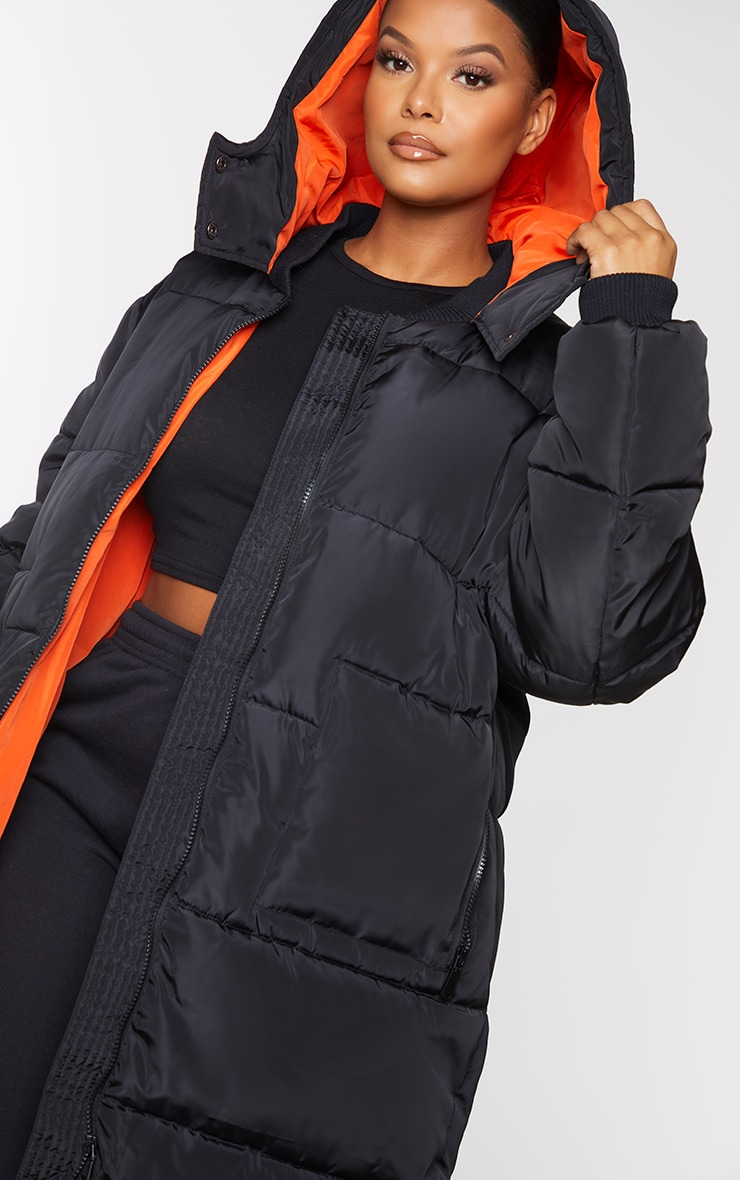 Plus Black Maxi Contrast Hooded Puffer Jacket 4