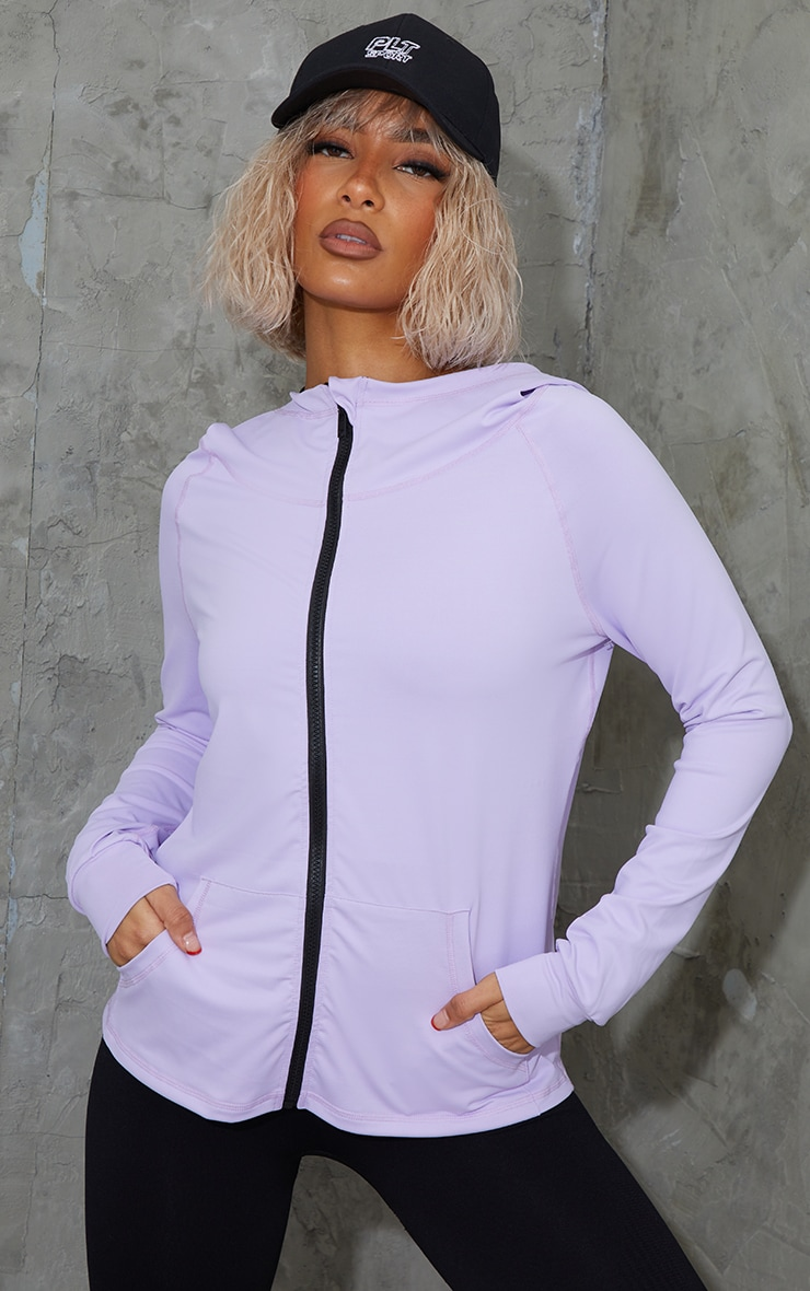 Lilac Zip Through Hooded Gym Top 1