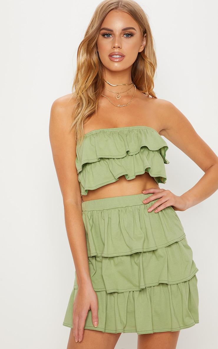 Sage Green Frill Mini Skirt 1