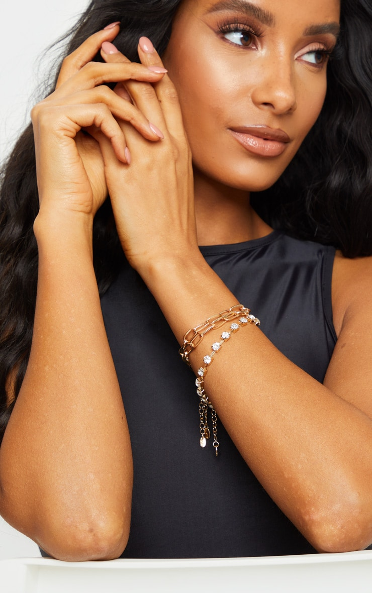 Gold Chain Diamante Multi Pack Bracelets 1