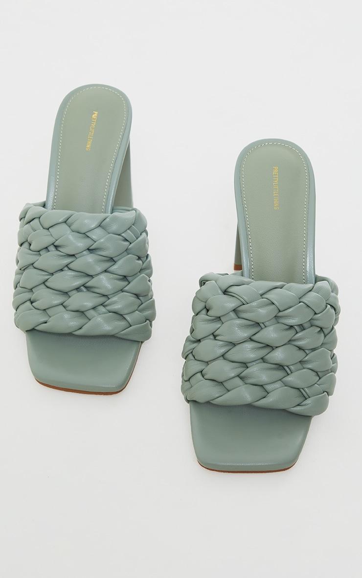Sage Green Basket Weave Square Toe High Flat Block Heel Mules 3