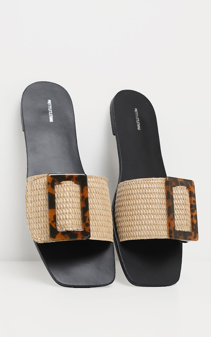 Raffia Buckle Mule Sandal 3