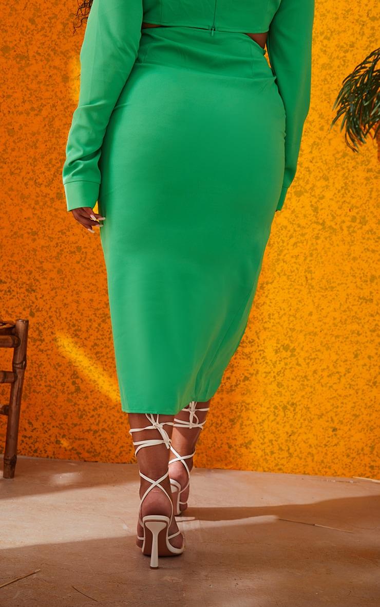 Plus Bright Green Woven Ruched Tie Front Split Leg Midi Skirt 3