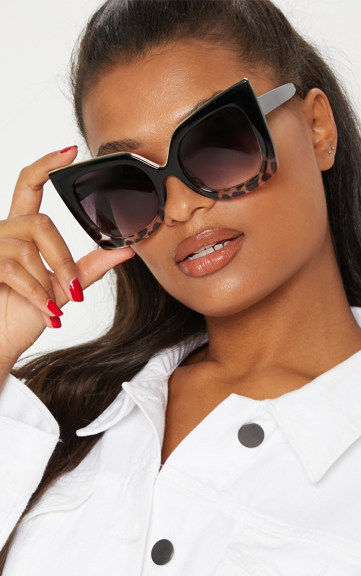 Black Half Tortoiseshell Oversized Sunglasses 1