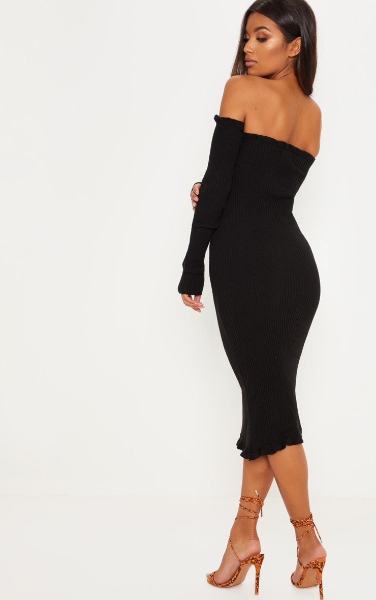 Black Ruffle Bardot Knitted Midaxi 2