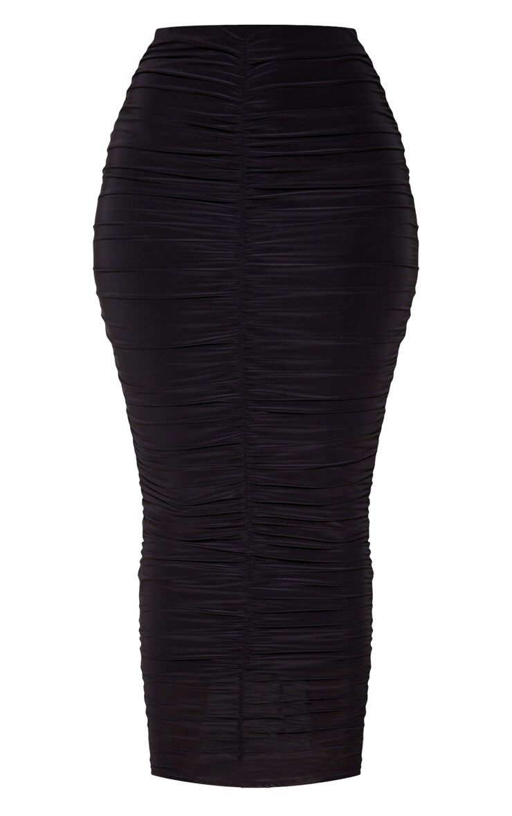 Black Slinky Ruched Detail Midaxi Skirt 3