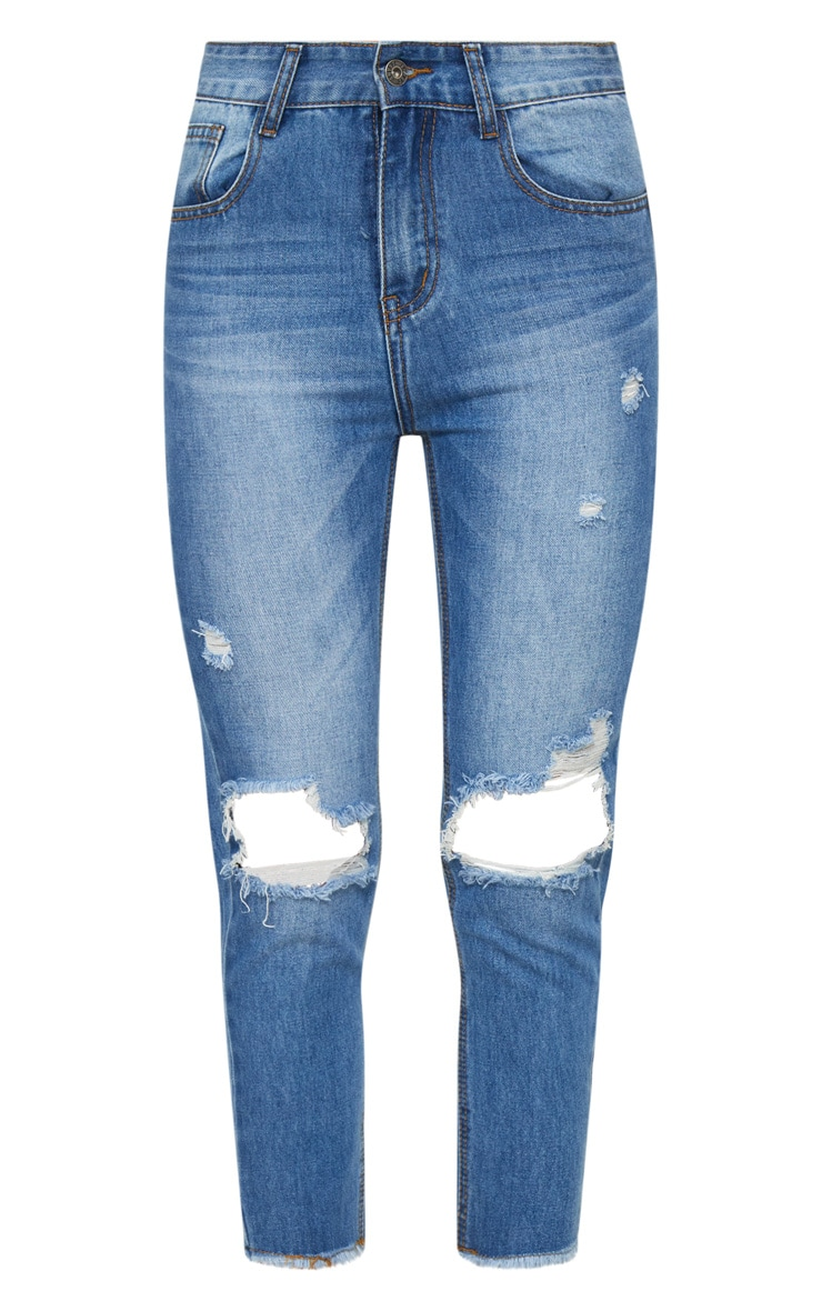 Mid Wash Knee Rip Straight Leg Jean 3