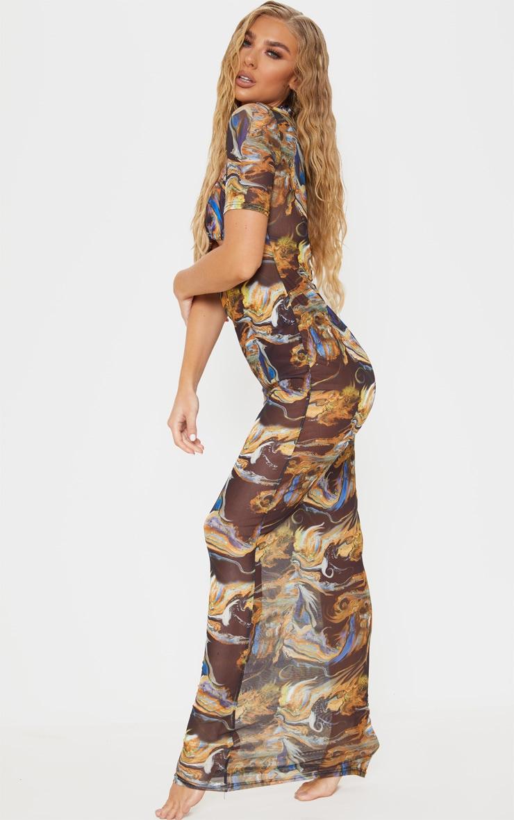 Black Acid Print Short Sleeve Scoop Neck Mesh Maxi Dress 3