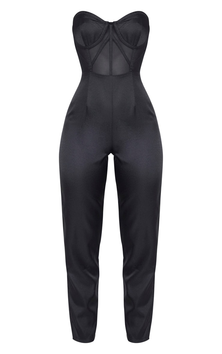 Black Bandeau Mesh Insert Cup Detail Jumpsuit 3