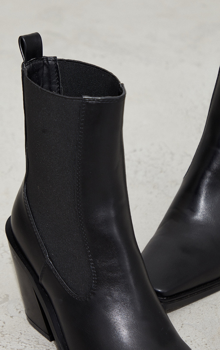 Black PU Square Toe Western Ankle Boots 4