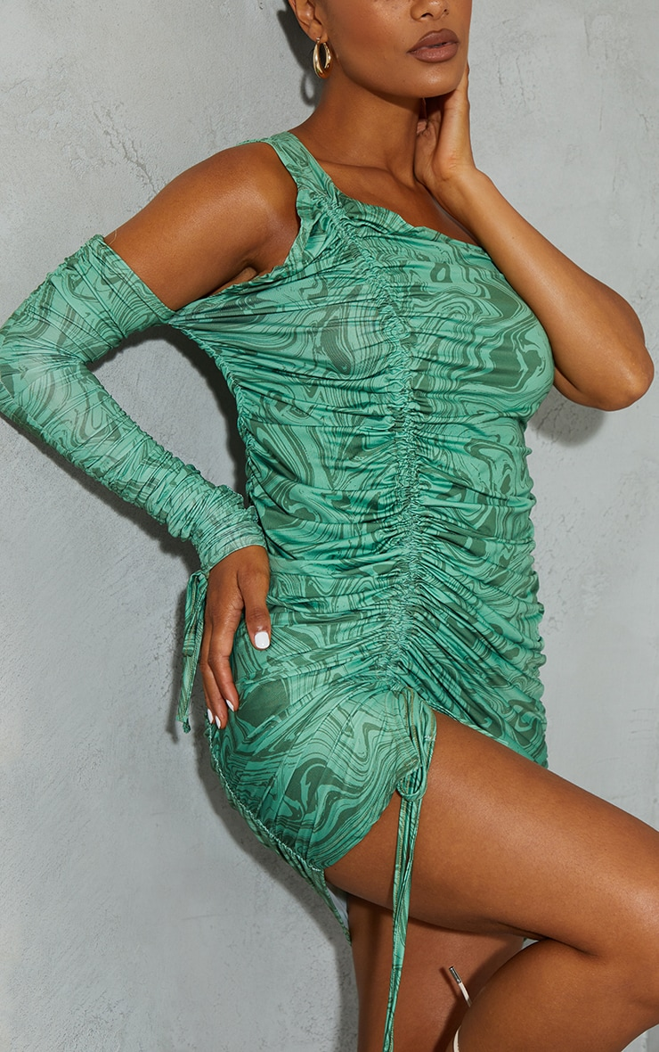 Green Marble Print Slinky Cold Shoulder Detail Ruched Bodycon Dress 4