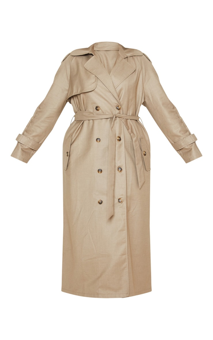 Plus Stone Woven Oversized Trench Coat 3
