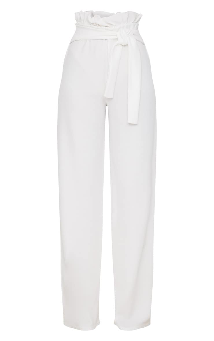 Cream Crepe Wide Leg Paperbag Trousers 3