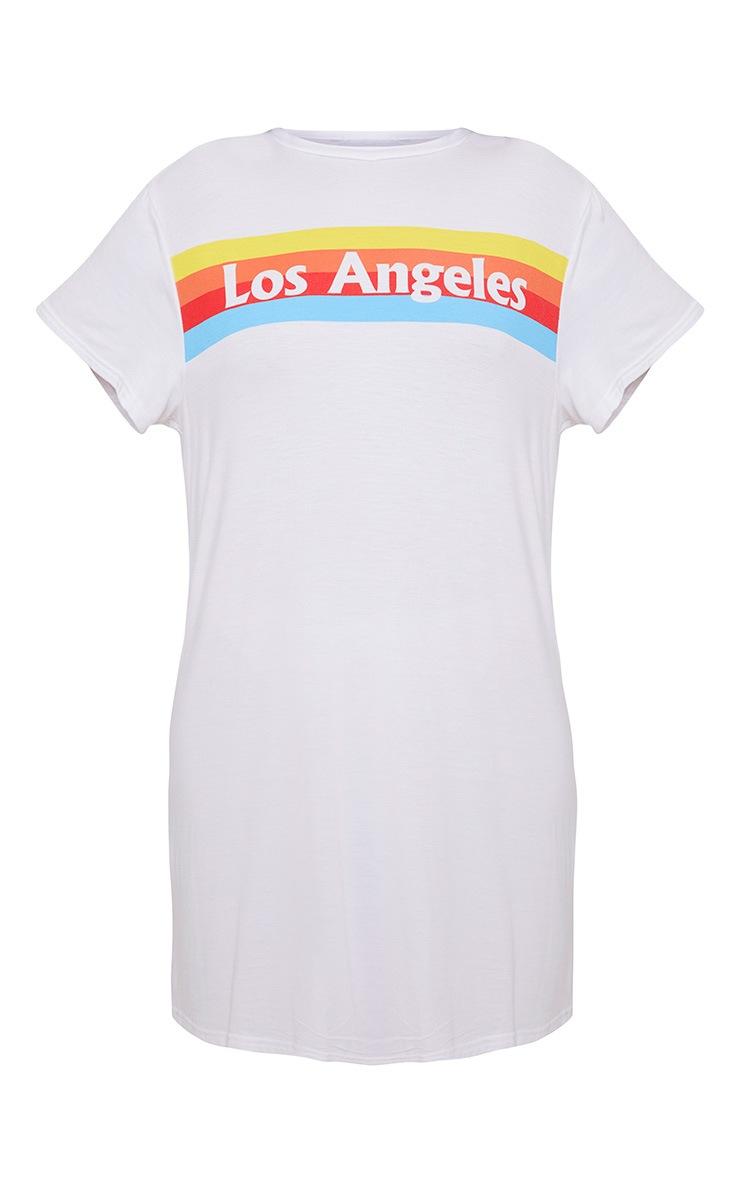 White LA Rainbow Print T Shirt Dress 3