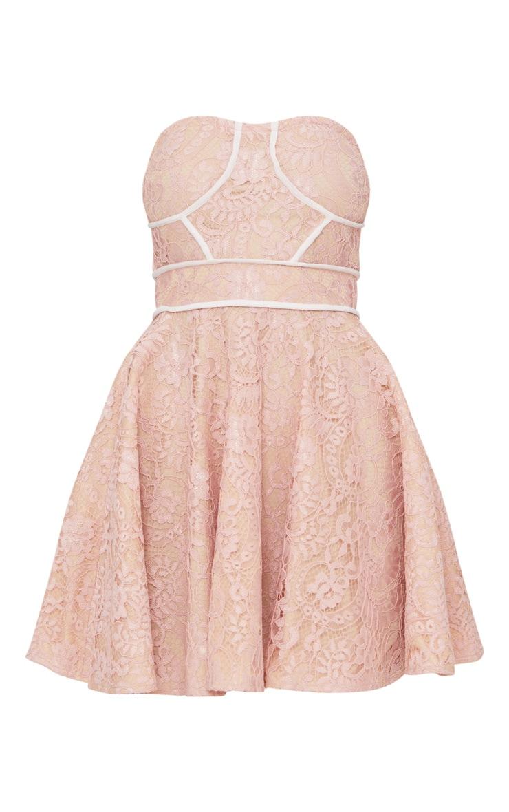 Dusty Pink Lace Binding Detail Bandeau Skater Dress 3