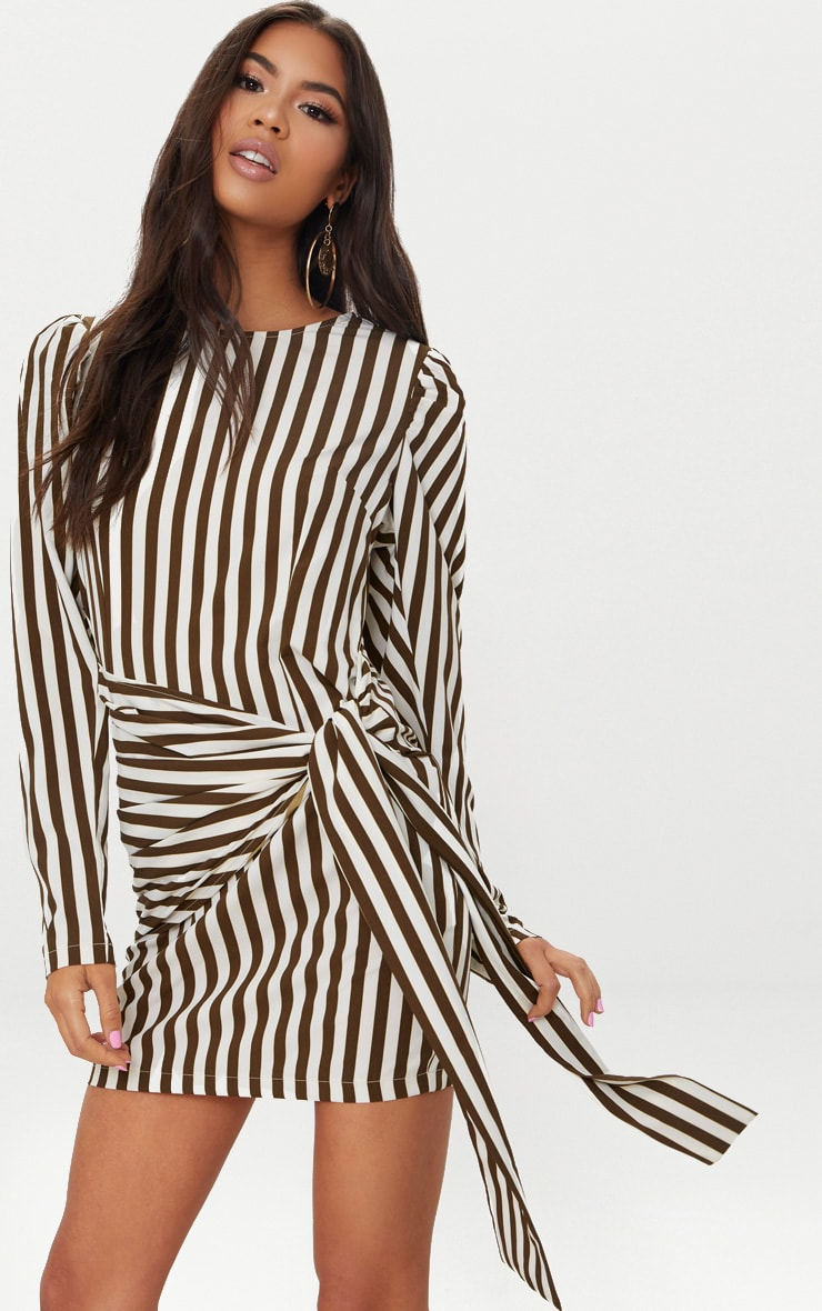 Olive Striped Puff Sleeve Tie Bodycon Dress 1
