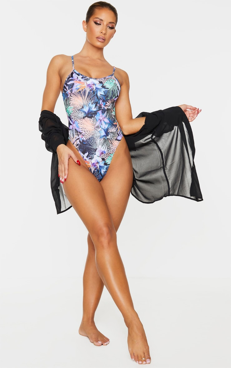 Multi Tropical Floral Scoop Neck Swimsuit 3