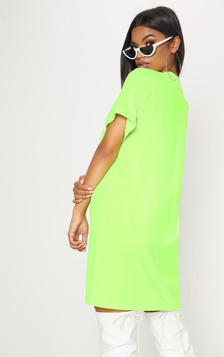 Neon Green LA Slogan Oversized T Shirt Dress 2