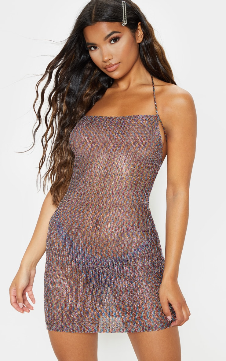 Charlay Multi Metallic Knit Halterneck Mini Dress 1