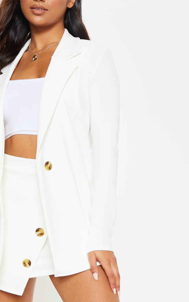 Cream Button Detail Boyfriend Blazer 5
