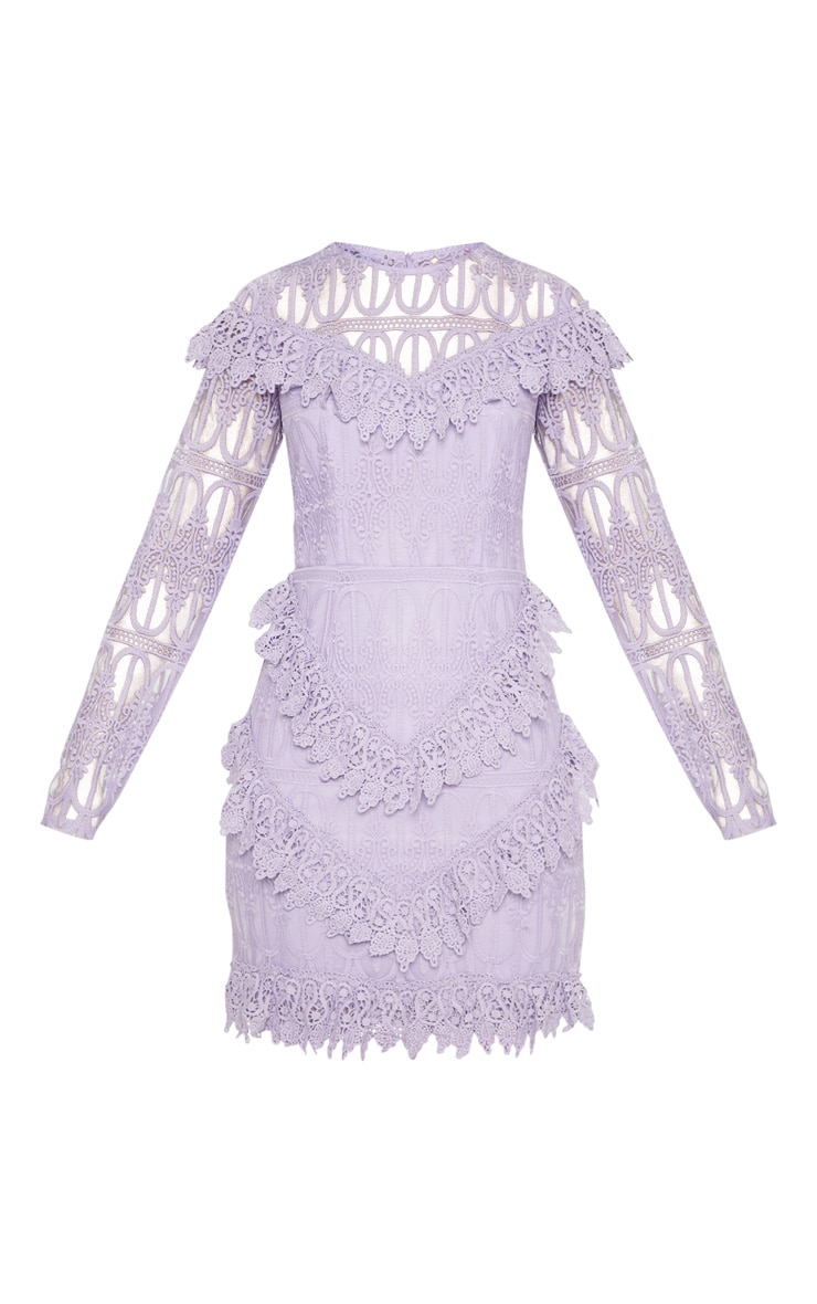 Lilac Lace Frill Detail Long Sleeve Bodycon Dress 3