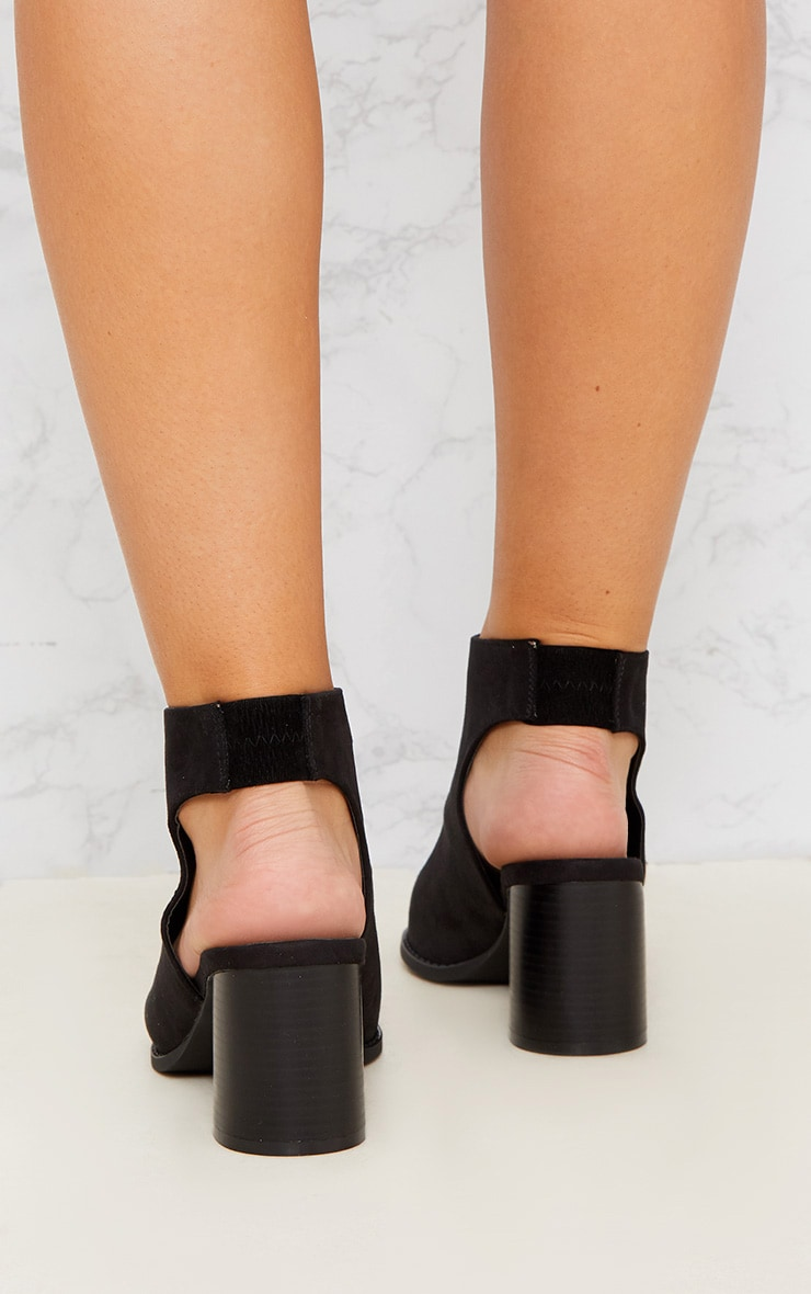 Black Faux Suede Zip Front Cut Out Ankle Boot 3