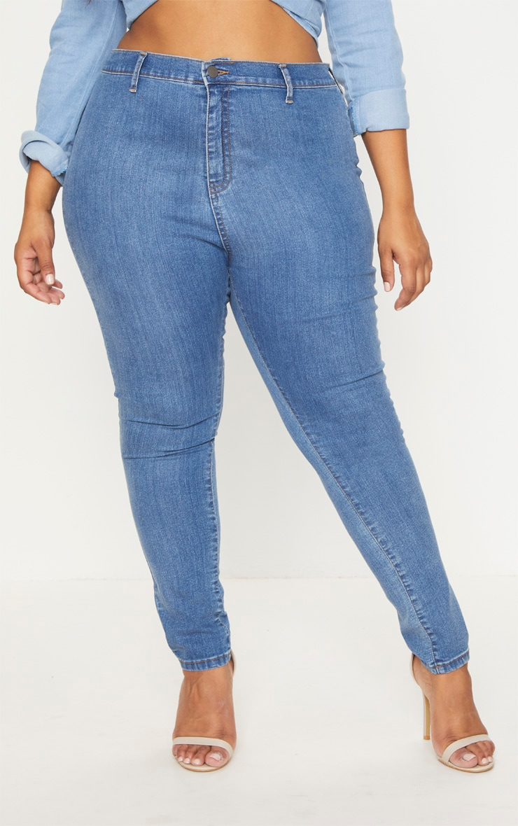 Plus Mid Wash High Waist Skinny Jeans 2
