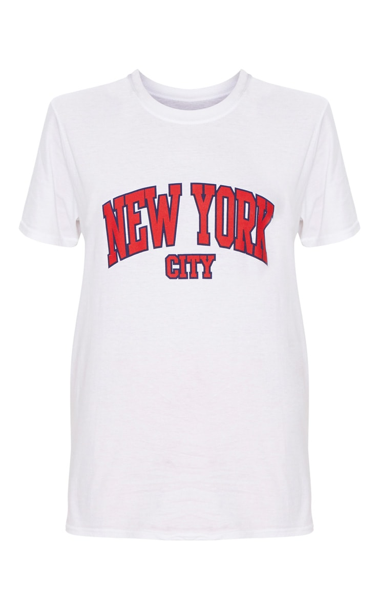 white new york city slogan oversized t shirt. Black Bedroom Furniture Sets. Home Design Ideas
