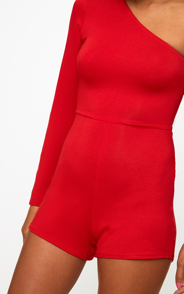 Red One Shoulder Playsuit 4