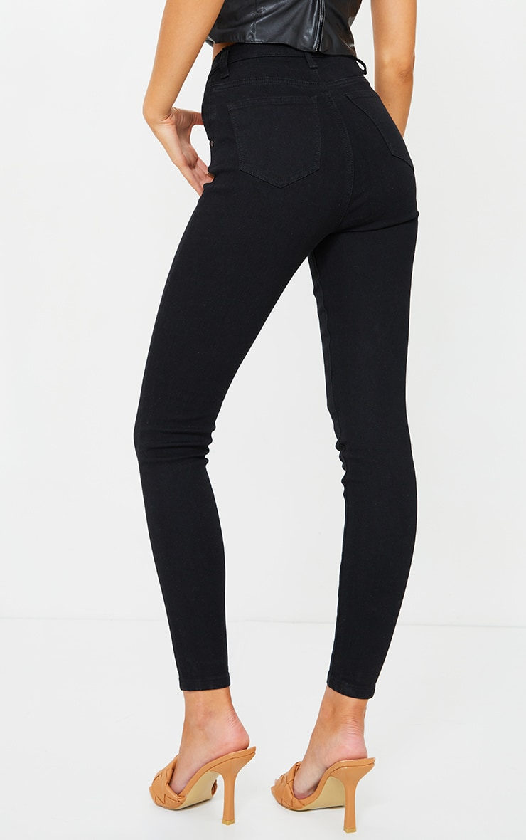 Black Dipped Waistband Skinny Jeans 3