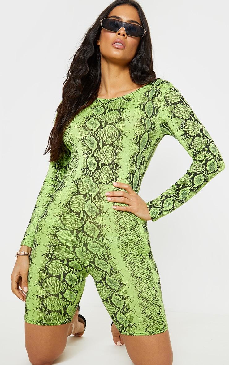 Lime Snake Print Long Sleeve Scoop Back Unitard 2