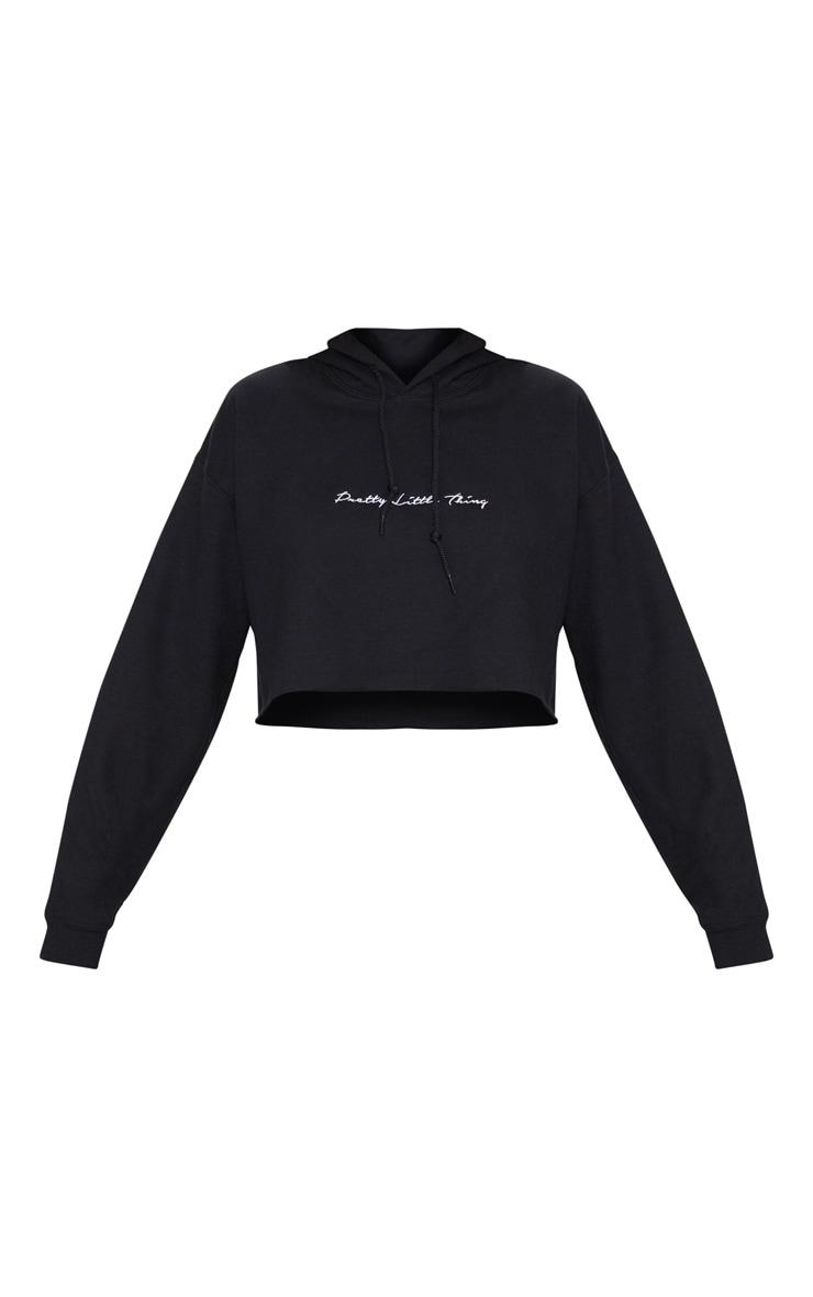 PRETTYLITTLETHING Black Embroidered Crop Hoodie 3