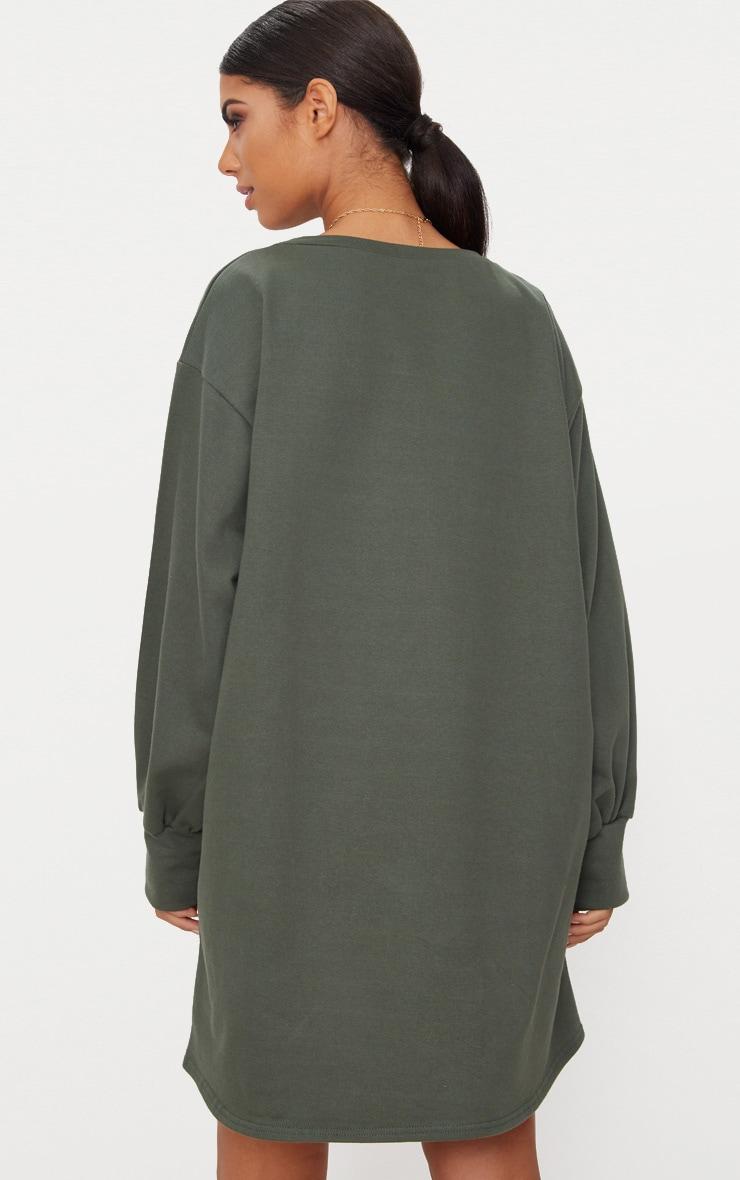 Khaki Oversized Sweater Dress 2