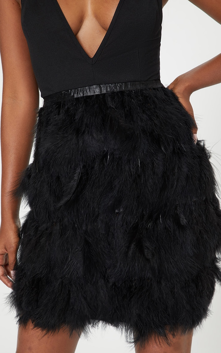 Black Strappy Extreme Plunge Feather Bottom Dress 5