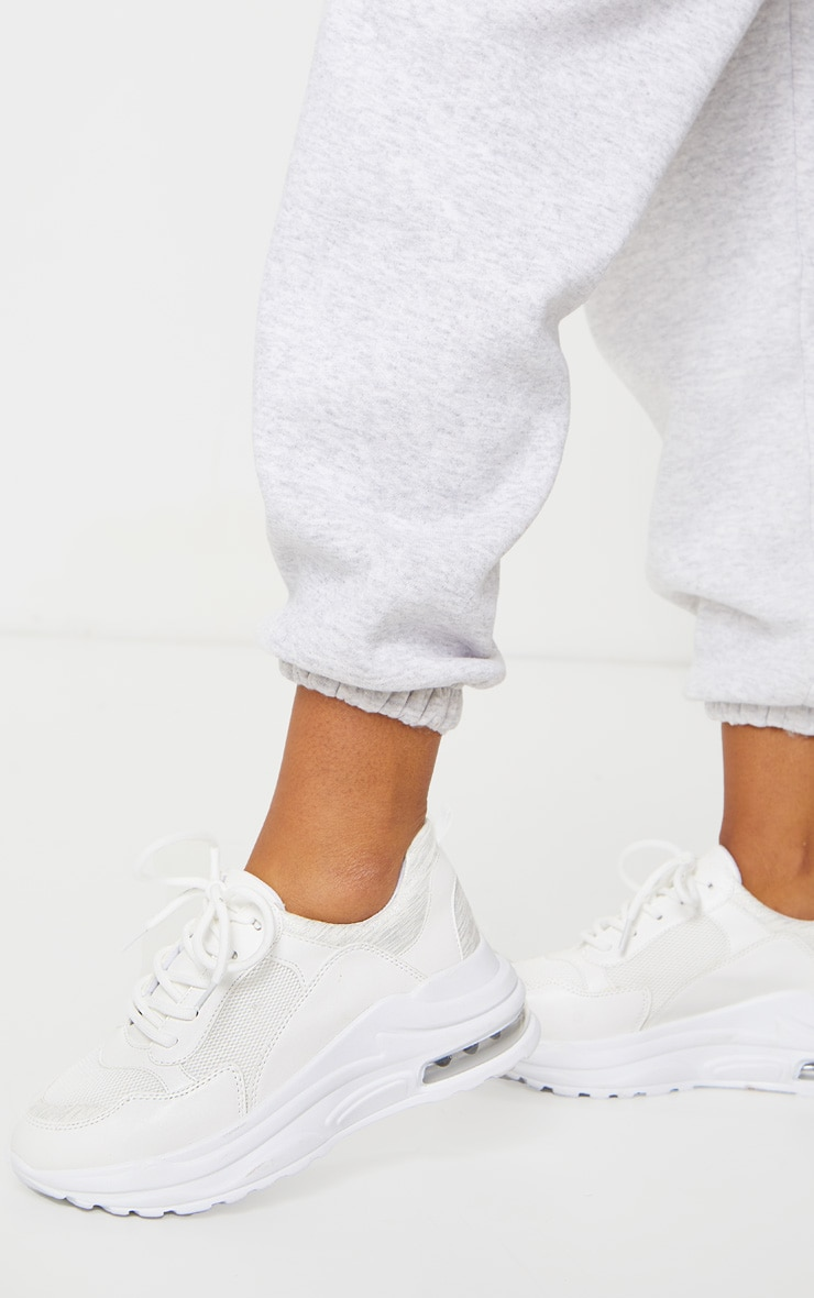 White Bubble Panel Sole Lace Up Sneakers 1