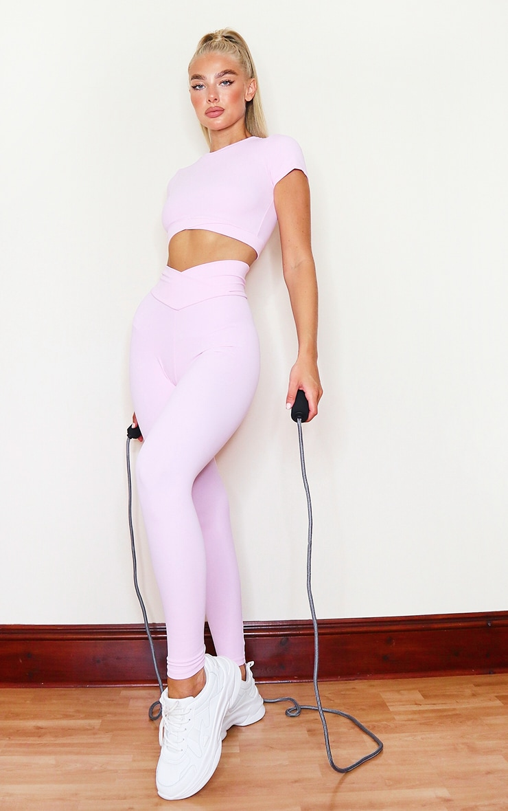 PRETTYLITTLETHING Baby Pink Sculpt Luxe Ruched Bum Gym Legging 1