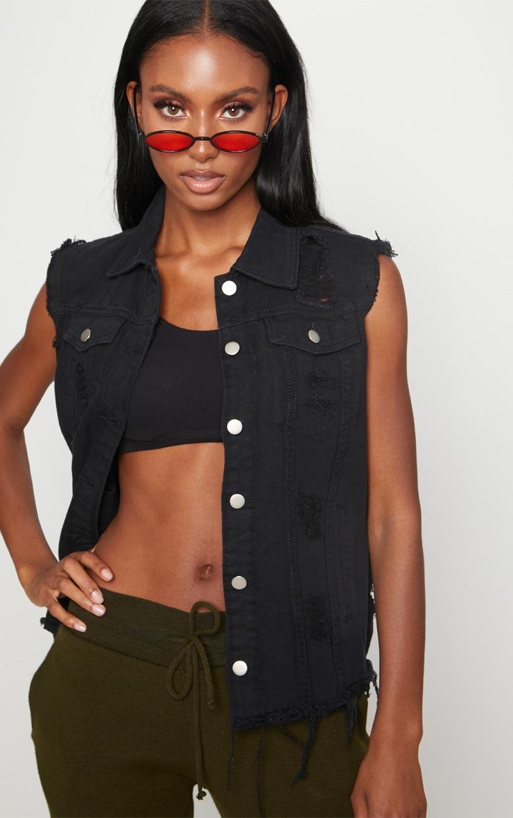 Black Sleeveless Denim Jacket 1