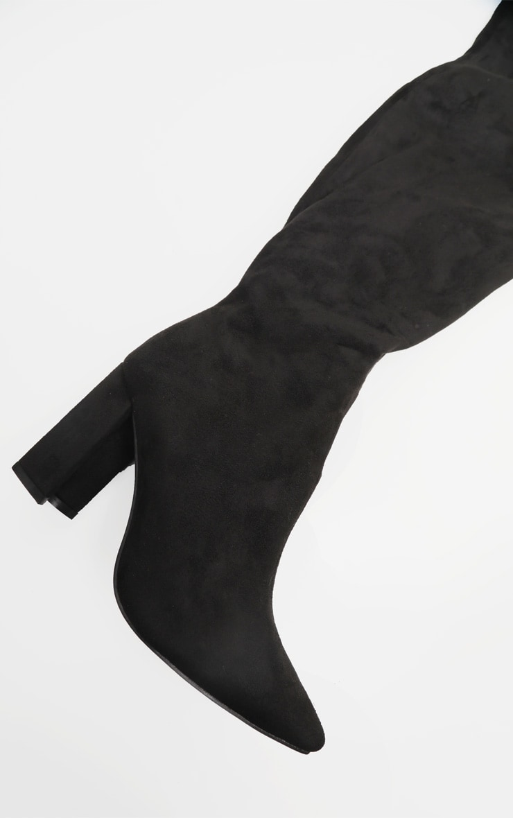 Black Wide Fit Block Heel Thigh High Boot 2