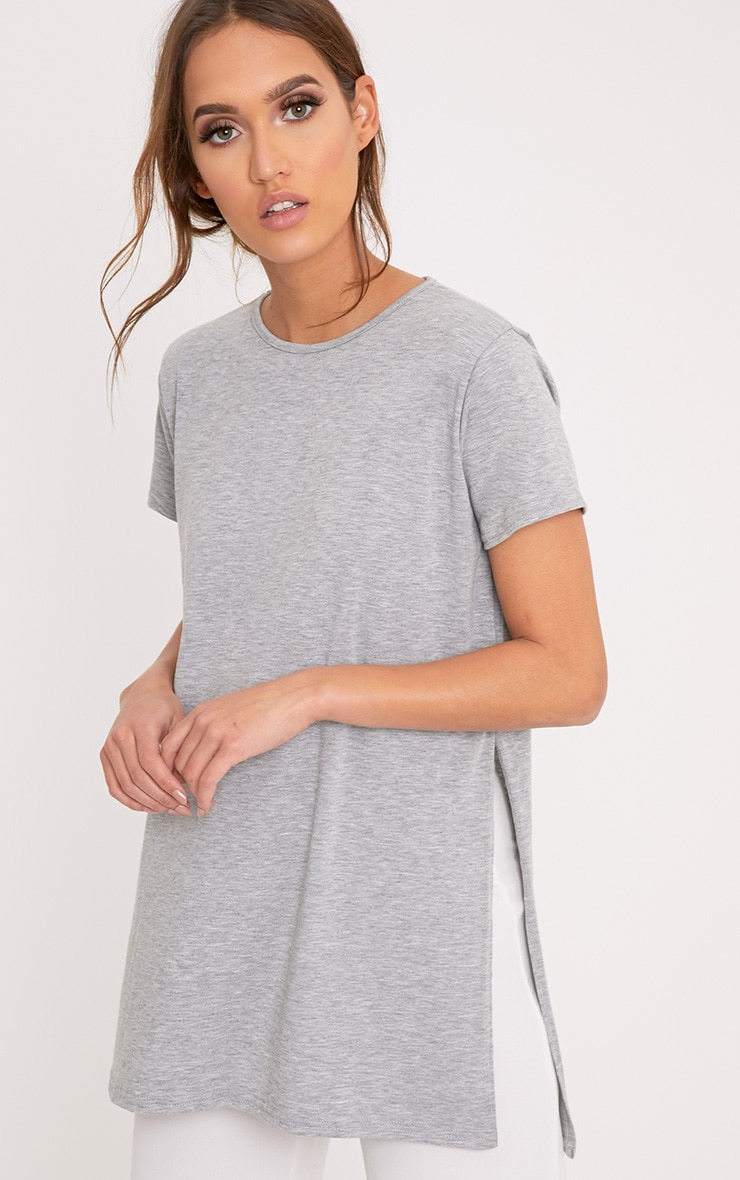 Grey Side Split T-Shirt 4