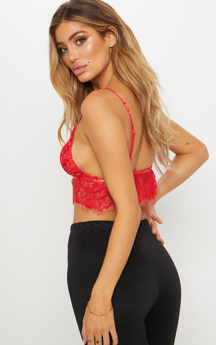 Red Lace Harness Bralet 2