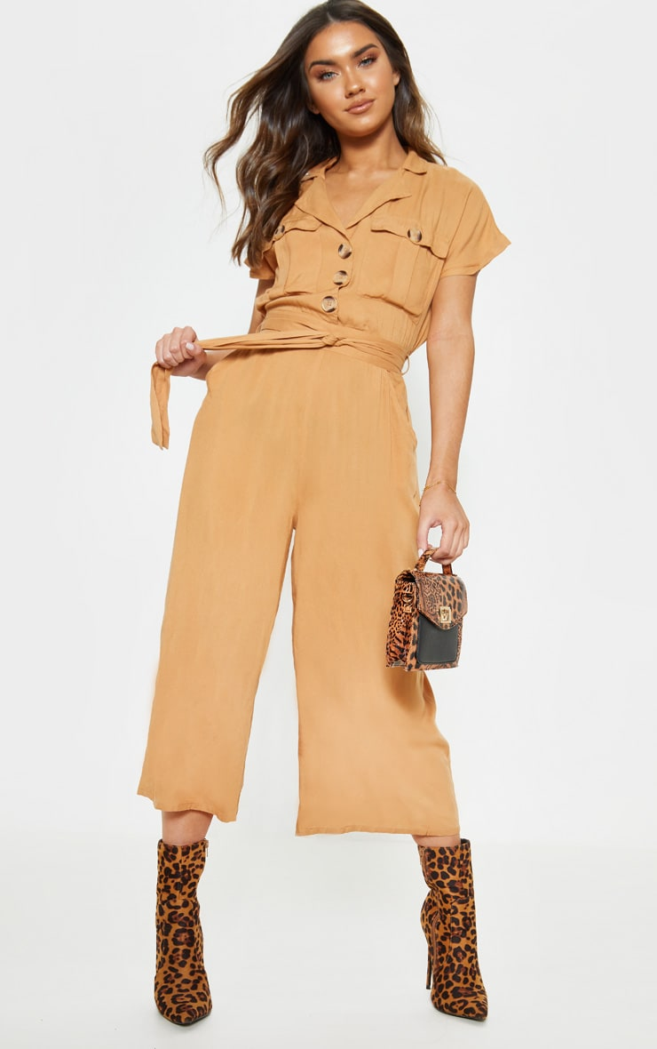 Camel Tortoise Shell Button Pocket Detail Culotte Jumpsuit 1